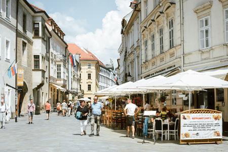 BRATISLAVA, SLOVAKIA - June 27, 2018: Restaurants in Old Town Bratislava, Slovakia Editorial