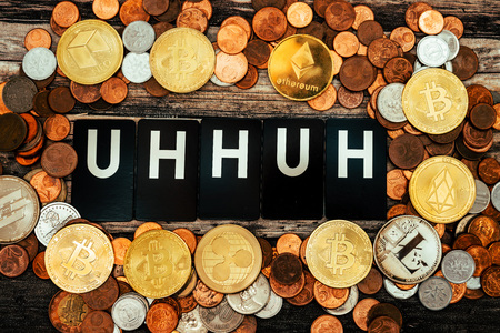 Uh huh-Express your voice with the concept of cryptocurrency and vocal words Stock fotó