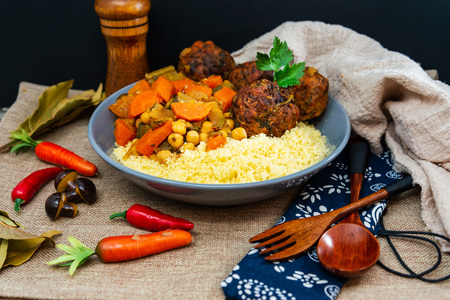 traditional moroccan dish couscous Meat ball Stockfoto