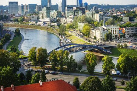 VILNIUS, LITHUANIA - September 2, 2017: view of modern Buildings around Vilnius, Lithuanian Редакционное