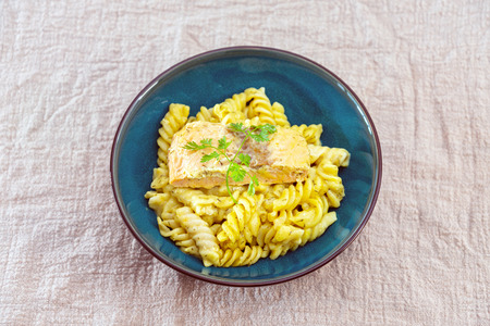 Fusilli salmon and dill cream