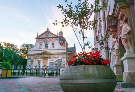 KRAKOW, POLAND - August 27, 2017: antique Church building in Krakow, Poland Editorial