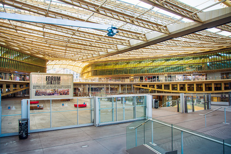 PARIS, FRANCE - MARCH 31, 2019: Forum des Halles was the second most visited shopping mall in the Paris region with 42 million visitors Publikacyjne