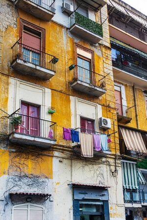 Antique building view in Old Town Naples, italy Europe Imagens