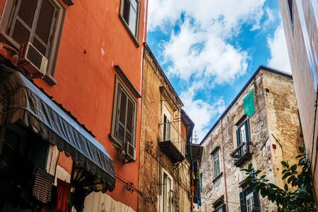 Antique building view in Old Town Naples, italy Europe Stock Photo