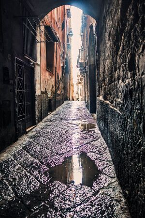 Street view of old town in Naples city, italy Europe Imagens