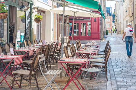 ORLEANS, FRANCE - May 8, 2018: Restaurants in Orleans, France