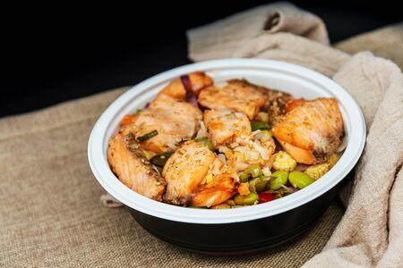 Tuna with rice in bowl, Tuna don, Japanese cuisine Stock Photo