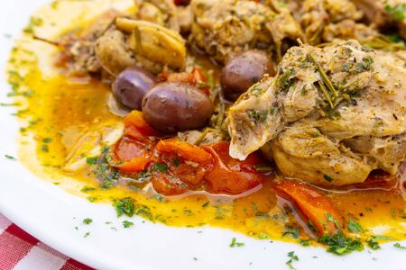 Roasted Chicken Legs BBQ With Spices, Tomato and pepper