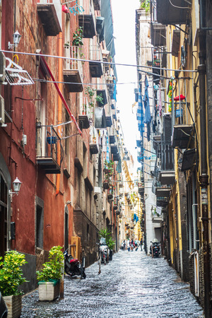 Street view of old town in Naples city, italy Europe Editorial