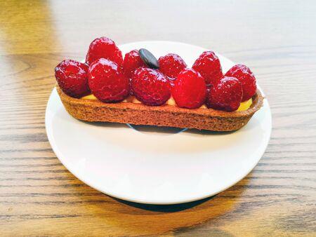 Raspberry tartlet dessert ready to eat