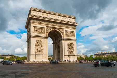 PARIS, FRANCE - July 31, 2019: Arc de Triomphe in Paris, one of the most famous monuments, Paris, France.