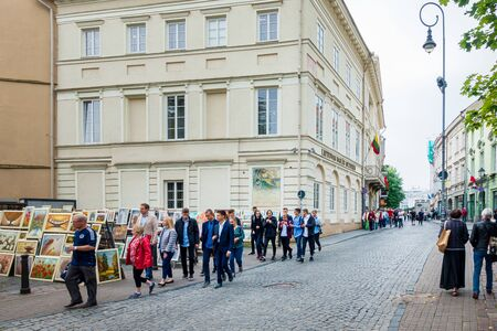 VILNIUS, LITHUANIA - September 2, 2017: People are walking through a street in Old Town Vilnius, Lithuanian Reklamní fotografie