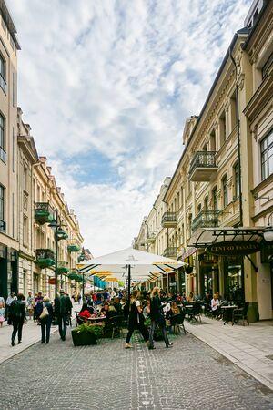 VILNIUS, LITHUANIA - September 2, 2017: Restaurants in Old Town Vilnius, Lithuanian