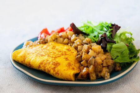 French Omelette with Potatoes, Mushroom and Salad Archivio Fotografico