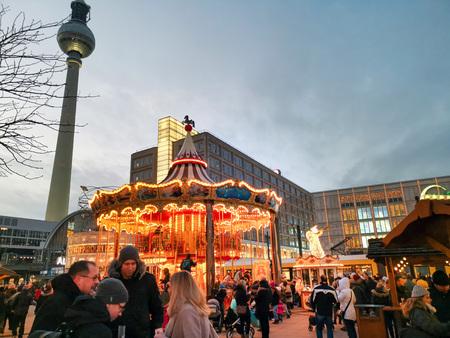 BERLIN, GERMANY-DECEMBER 16, 2018: Christmas Market and Berlin Tower Editorial