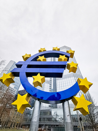Frankfurt, Germany - June 22, 2019: Euro Sign. European Central Bank (ECB) is the central bank for the euro and administers the monetary policy of the Eurozone in Frankfurt, Germany.