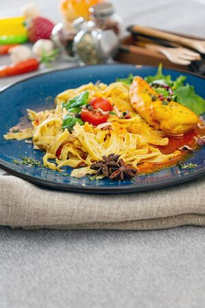 Chicken Fillet Smoked Paprika Sauce and Tagliatelle