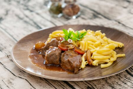 Home made Beef Bourguignon with Tagliatelle