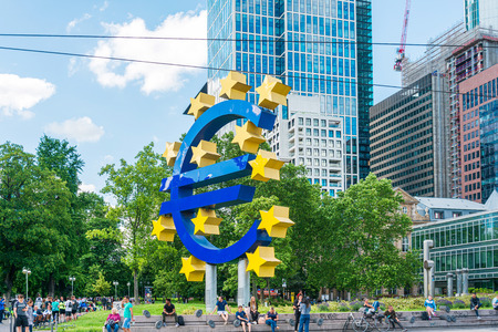 Frankfurt, Germany - June 12, 2019: Euro Sign. European Central Bank (ECB) is the central bank for the euro and administers the monetary policy of the Eurozone in Frankfurt, Germany. Éditoriale