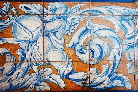Great for textures Andalusia style wall Azulejos tiles background Stock fotó
