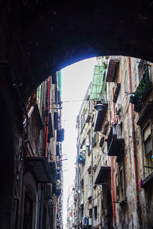 Antique building view in Old Town Naples, italy Europe Sajtókép