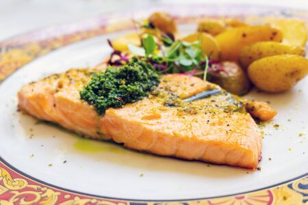 french cuisine grilled salmon and potatoes