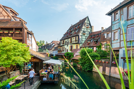 STRASBOURG, FRANCE - June 17, 2017 : Restaurants in Old Town Strasbourg, France