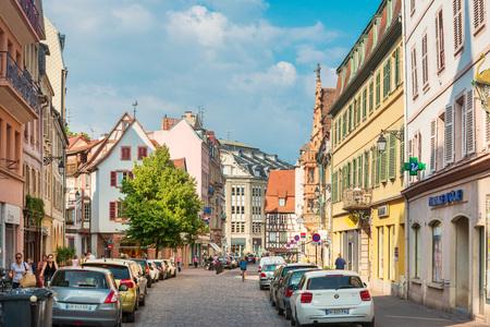 STRASBOURG, FRANCE - June 17, 2017 : Street view of ancient buildings at Strasbourg, Alsace, France