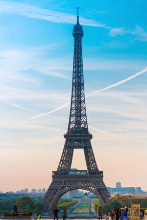 PARIS, FRANCE - August 22, 2019: Eiffel Tower is a wrought-iron lattice tower on the Champ de Mars in Paris, France.