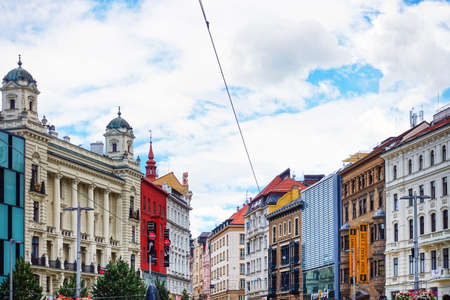 BRNO, CZECH REPUBLIC - July 25, 2017: Tourists on foot Graben in Old Town Brno, Czech Editorial
