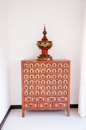 Thai old box design cabinet photo