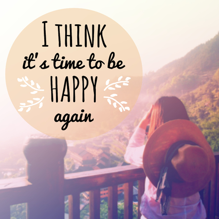 Inspirational quote I think its time to be happy again on blurred background with vintage filter Stock fotó