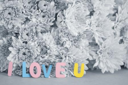 i love u: Word  I love U on black and white flowers blurred background