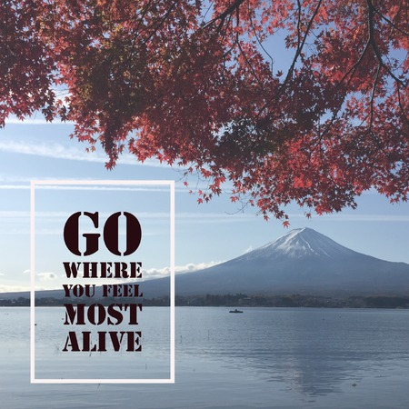 Inspirational motivational quote go where you feel most alive Фото со стока