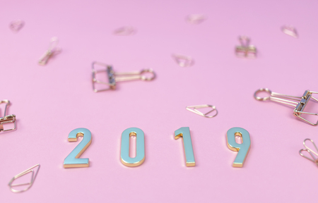 Flat lay of the word 2019 in new year concept with golden binder clips on pink pastel background.