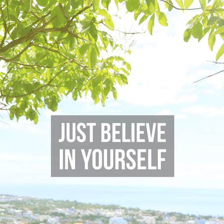 Inspirational motivational quote just believe in yourself. with seascape background. Фото со стока