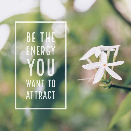 Inspirational motivational quote be the energy you want to attract. with white flowers background.