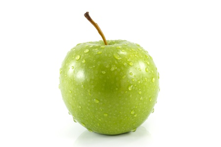 closeup isolated juicy green apple photo