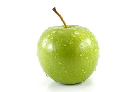 closeup isolated juicy green apple photo