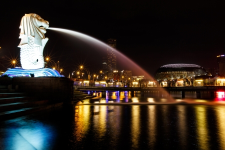 Merlion,Singapore at night Editorial