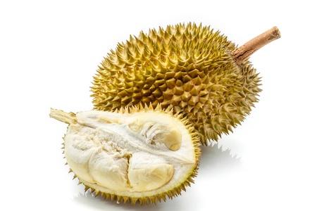 Close up de durian descascada isolado no fundo branco Banco de Imagens