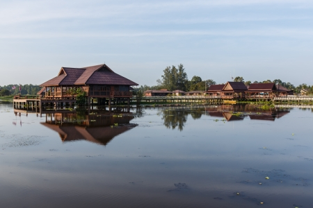 view of Lake side Hotel at Phatthalung, Thailand