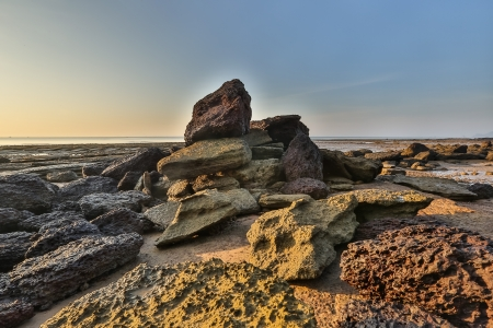Susan Hoi ou F?sseis Shell Beach ao amanhecer, Krabi, Tail?ndia Banco de Imagens