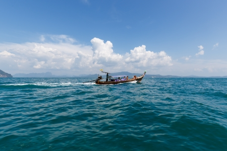 Long tail boat on tropical sea in Thailand