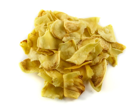 Durian chips isolated on white background Stock Photo