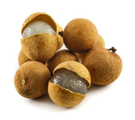 Fresh Longans fruits isolated on white background photo