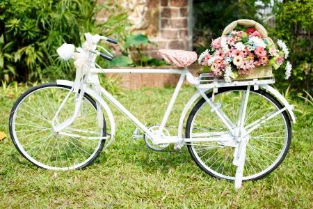 decorated bike: fiore su una bicicletta bianca in giardino