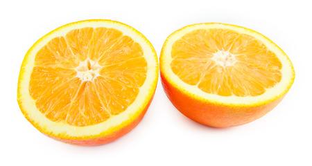 slice of orange fruit isolated on white background Banco de Imagens
