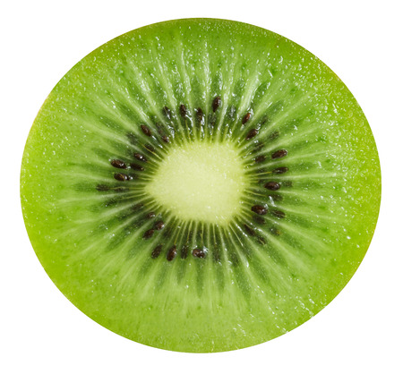 Slice of fresh kiwi fruit isolated on white background Stok Fotoğraf